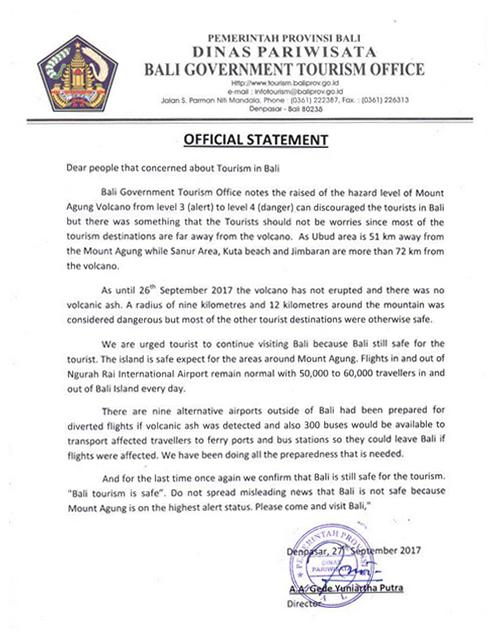 バリ州政府観光局観光事務所公式声明